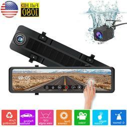 """10"""" Junsun FHD 1080P Car DVR Rearview Mirror Dash Cam Dual"""