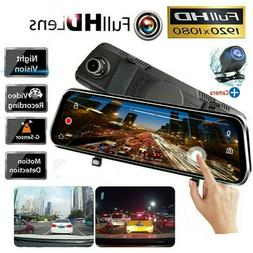 10inch FHD 1080P Car DVR Rearview Mirror Dash Cam Dual Lens