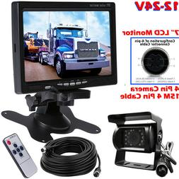 """12V-24V 4Pin IR Backup Camera with 7"""" Monitor for Commercial"""