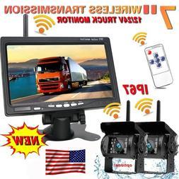 "2Pcs Wireless Rear View Backup Camera Night Vision + 7"" Moni"