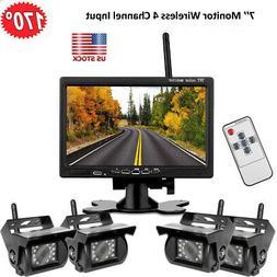 "4PCS Wireless Backup Camera + 7"" Monitor System for RV Truck"