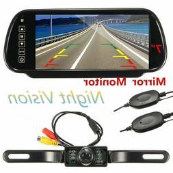 7'' Car Rear View Backup Mirror Monitor LCD+Wireless Reverse