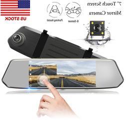 """TOGUARD 7"""" Dual Lens Dash Cam HD 1080P Car DVR Rear View Mir"""