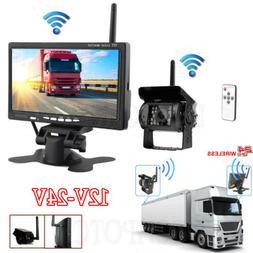 "7""Inch Wireless Parking Kit Combo Monitor Reverse Backup Cam"