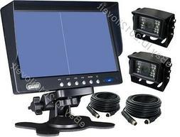 "7"" QUAD/SPLIT REAR VIEW BACKUP 2 CAMERAS CCTV SYSTEM FOR AG"