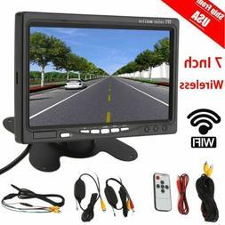 "7"" TFT LCD Digital Monitor + Wireless Car Rear View Backup C"