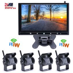 "9"" Monitor + 4 X Wireless Rear View Backup Night Vision Came"