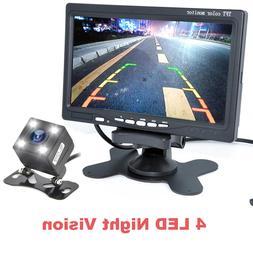 """Auto 7"""" TFT LCD Monitor+Night Vision Car Rear View Backup Ca"""