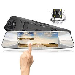 "Jeemak Mirror Dash Cam Cars 1080P Full HD 7"" Touch Screen Ba"