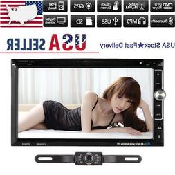Backup Cam+7 inch Double Din Car Stereo Radio DVD mp3 Player