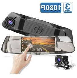"Backup Camera 5"" Mirror Dash Cam Touch Screen Full HD 1080P"