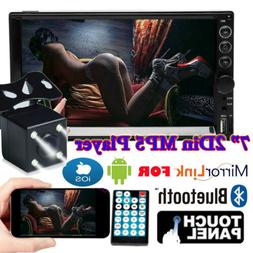 "Backup Camera + 7"" Car Stereo Radio Double 2 DIN Bluetooth M"