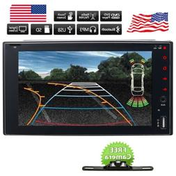 Backup Camera&Double 2*Din Car Stereo Radio CD DVD Player Bl