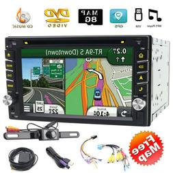 Backup Camera GPS Double 2Din Car Stereo Radio CD DVD Player