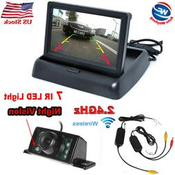 "Car 4.3"" LCD TFT Foldable Monitor+Wireless Rearview Backup R"