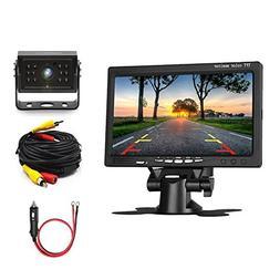Camecho Car Backup Camera 7'' LCD Monitor 12IRs Rear View Ca