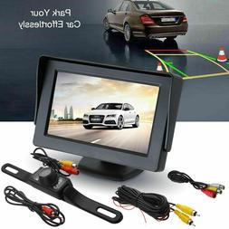 "Car Backup Camera Rear View Night Vision Cam & Foldable 4.3"""