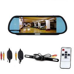 "CISNO 7"" LCD Car Rear View Mirror 16:9 Monitor+Wireless Back"