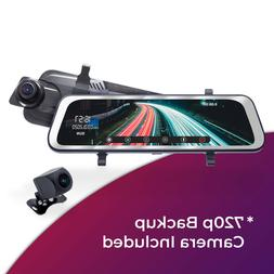 "Clip-On Rear View Mirror with 10"" Touch Screen & Extendable"