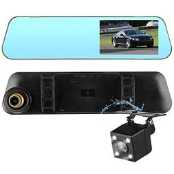 DohonesBest Dash Cam Dual Lens Rear View Mirror Car Backup C