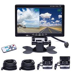Camecho Dual Backup Camera 4 Split Monitor Rear Camera Auto