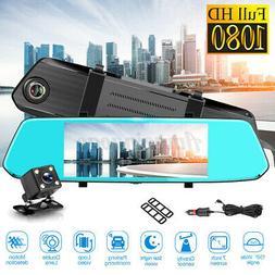Dual Len 7'' 1080P Backup Camera Mirror Parking System Kit C