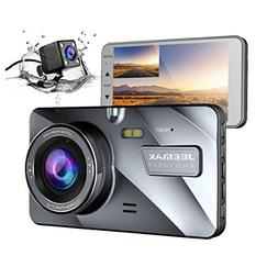 Jeemak Dual Lens Dash Cam Front and Rear 1080P+720P Dashboar