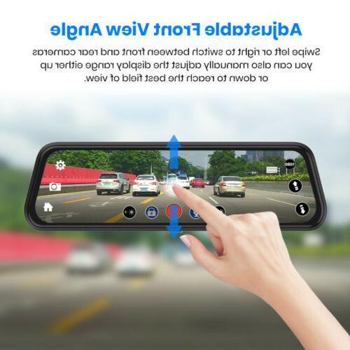 """10"""" Junsun Car Rearview Mirror Dash Cam Dual Backup"""