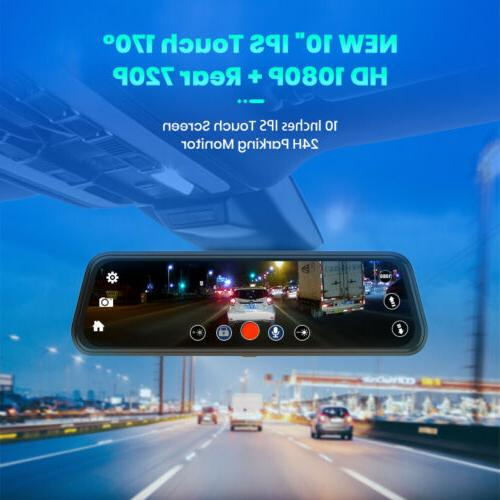 "10"" Junsun FHD Car Dash Cam Dual Backup Camera"