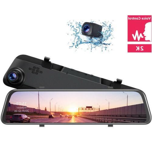 2K Dash Cam Rear View Mirror Backup Car 1080P Waterproof TOGUARD