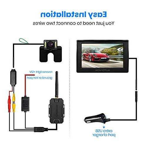 AUTO-VOX M1W Camera Kit,IP Waterproof LED License Reverse Rear View Up Camera,4.3'' TFT Monitor for Cars,Trucks,RVs