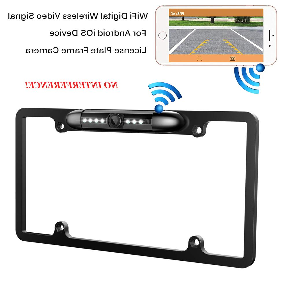 WiFi Wireless Car Rear View Backup License Plate Frame Camer