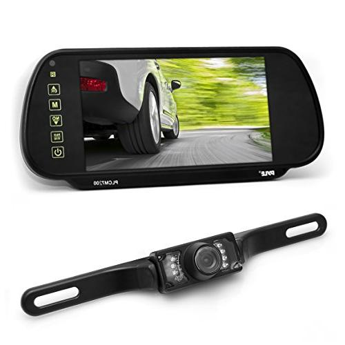 Pyle 7in Tft Mirror Monitor Rear-View Night Vision Camera