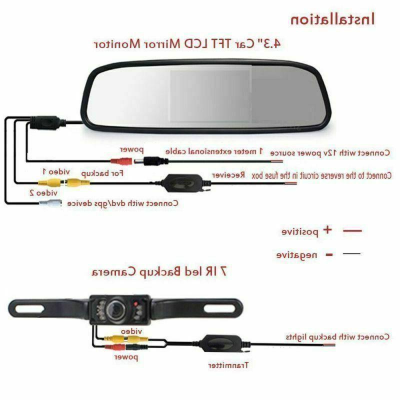 "Wireless Car Camera Rear Vision 4.3"" Mirror Monitor"