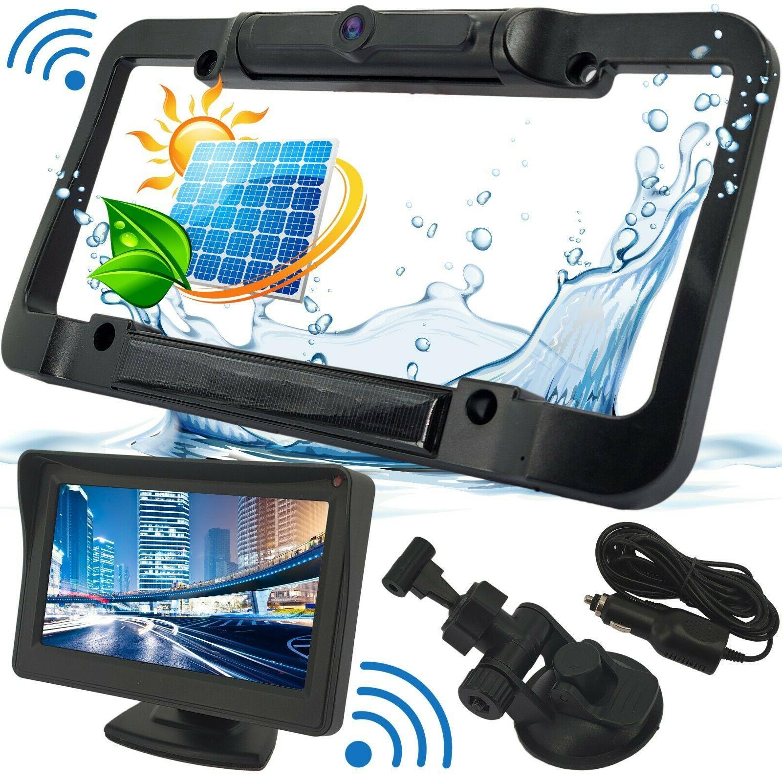 wireless waterproof hd solar license plate rear