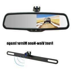 "License Plate Rear View Backup Camera +4.3"" Mirror Monitor f"