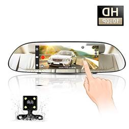 """Mirror Dash Cam, MAYOGA 7"""" Touch Screen Backup Camera 1080P"""