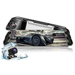 "Mirror Dash cam,TekBow Backup Camera 10"" Streaming Media T"