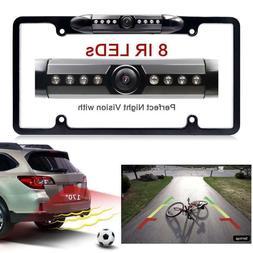 Night Vision 8 LED IR Car Rear View Backup Camera License Pl