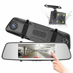 """FREE SHIPPING! 7"""" Rearview Mirror Touch Screen Dash Cam Fron"""