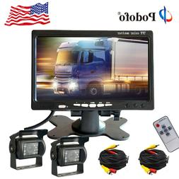 For Truck RV Car Bus 2x Wired Rear View Backup Camera System