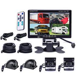 Vehicle Backup Cameras Monitor kit 4 Pin System 12V/24V,4 x