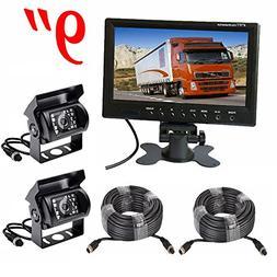 Vehicle Backup Camera Monitor Kit,2 x 18 LED Night Vision Re