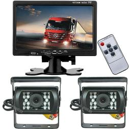 "Vehicle Dual Backup Cameras 7"" HD Rear View Monitor Set for"