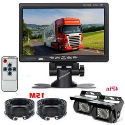 """Vehicle Dual Backup Night Vision Rear View Cameras 7"""" Monito"""