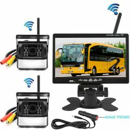"""Vehicle Wireless Dual Backup Cameras System +7"""" LCD Monitor"""