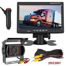 """Wired IR Rear View Backup CCD Camera Night Vision +7"""" Monito"""