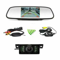 Wireless 5'' HD TFT LCD Mirror Monitor License Plate Rear Vi