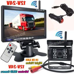 "Wireless 7"" LCD Monitor + Vehicle Backup Reverse Rear View C"