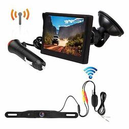 Wireless Backup Camera Monitor Kit License Plate + Rear View